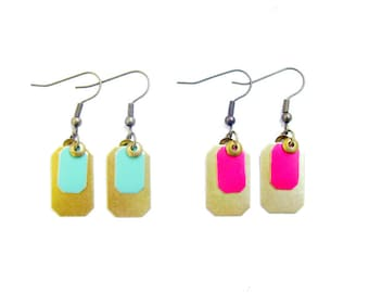 Everyday Geometric Earrings, Color Pop Earrings, Brass Dangle Earrings