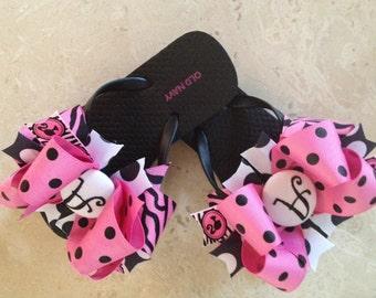 Barbie Bow Flip Flops Pink and Black
