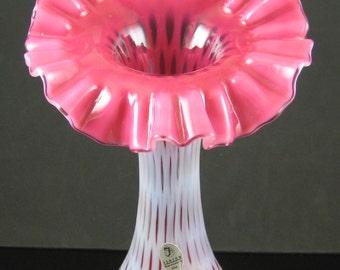 Fenton Cranberry Opalescent Fine Dot JIP Vase