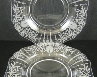 Two Vintage Cambridge Candlelight Etch 8.5 inch Plates