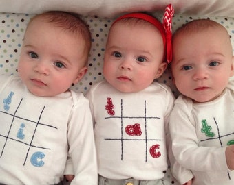 Tic Tac Toe Triplet Fun Bodysuit Set , Great Shower gift for TRIPLETS or siblings
