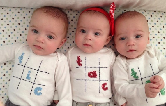 Tic Tac Toe Triplet Fun Bodysuit Set Great Shower gift for