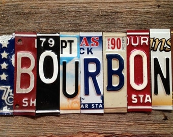 BOURBON license plate sign tomboyART art recycled upcycled pig BBQ whiskey rye american pie