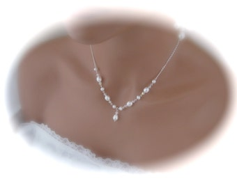 Freshwater pearl necklace bridal jewelry wedding jewelry