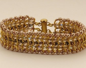 Rose Gold Pearl and Crystal Woven Bracelet -6.5 inches