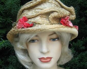 Vintage Edwardian Straw Toque Hat with Pink Satin Flowers & Velvet Brim