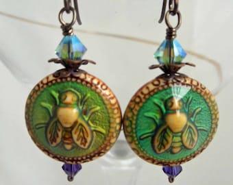 Bumble Bee Mood Bead Earrings