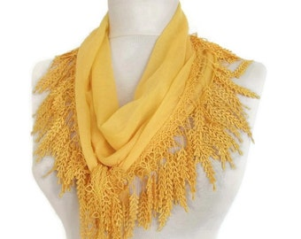 Bright yellow scarf Cowl scarf with lace edge Cotton scarf , Lightweight scarf, Scarves, Shawls, Gift for her