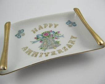 "Vintage Tray Lefton China ""Happy Anniversary"" Japan, Handpainted Dish"