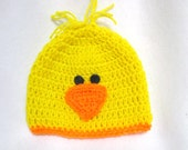 Baby Duck Hat, Yellow Duckie Hat for Baby, Child or Adult, Spring Infant Cap, Easter Photo Prop, Baby Chick Hat, Farm Animal Accessory