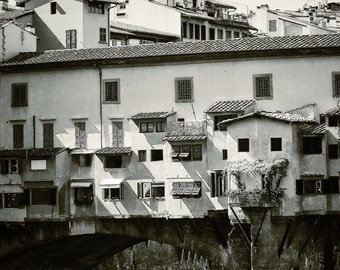 Fine Art photography, Ponte Vecchio, Florence, Firenze, Italy, black and white vintage, blur, 8x12, 8x10 available
