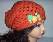 Crochet Orange Slouchy Beanie, Buttons Cluster Hat in Orange, Womans Accessories, Slouchy Beanie, Pom Pom Hat