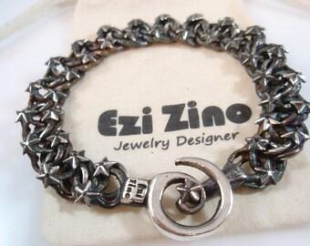 Ezi zino Jewelry Designer  star Link Oxidized  Heavy Bracelet Black Diamonds 0.60 ct sterling silver 925 mans bracelet