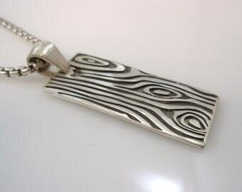 Ezi zino Iron Wood  Maple Tree eye dog tag & box chain 3 mm necklace Pendant Handmade sterling silver 925
