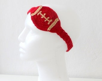 SALE %25 Off Crochet Football Headband in Red Champagne