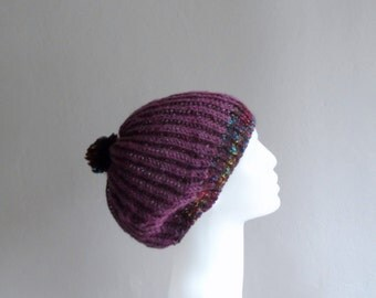 Purple Slouchy Hat, Pompom Hat, Slouchy Beanie, Knit Slouchy Hat