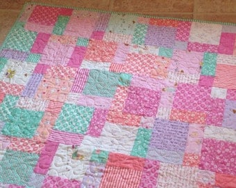 Posy Baby Girl Quilt in Pink, Purple, Green, cream