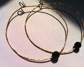 Black Onyx Hoop Earrings, Gold Large Hoop Earrings, Black Gemstone Jewelry, Gifts for Her, Fall Trends