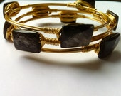 Golden Mica Gemstone Bangles, Bold and Chunky, Gold and Brown Stacking Bangles, Mod Geometric Style