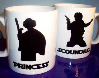 Pair of Star Wars themed mugs Han and Leia Princess Scoundrel