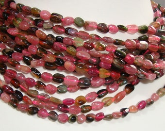 Reduced from 38.00, 2x15.5 Inch, 5.5-7mm, Beautiful to layer, Natural Watermelon Tourmaline Smooth Polished Nuggets