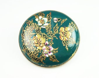 Satsuma Brooch, Japanese Brooch, Silver Metal, Hand Painted, Porcelain Brooch, Green Enamel, Antique Jewelry