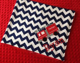 Personalized Baby Blanket 30x35- Minky Baby Blanket- Chevron Minky Blanket- Fire Truck Blanket- Custom Blanket- Chevron Baby Bedding