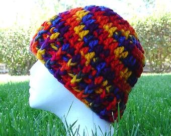 Handmade Crochet Rainbow Roy G Biv Beanie Cap Hat