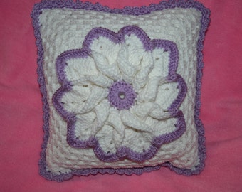 Lilac and White Flower Pillow