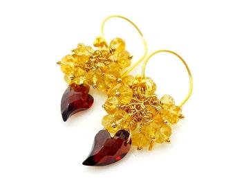 Garnet Heart Earrings, Garnet & Citrine Earrings, Gemstone Earrings, Cluster Earrings, Beadwork Earrings, Heart Jewelry, Beaded Earrings