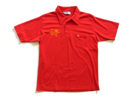 Vintage Mens Polo Shirt Short Sleeve Collared Red