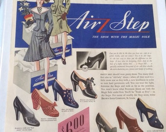 1940 air step shoe ad 13 1/2 x 10 1/2 great graphics
