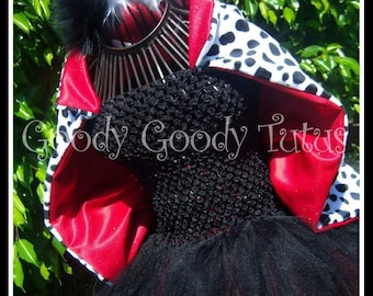 LITTLE MISS DeVIL Cruella De Vil Inspired Tutu Dress with Spotted Cape and Headpiece - 12/18mos Up to size 7/8