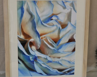 "Rose (abstract blue)--original 13""x17"" photograph matted & framed in 16""x20"" white-washed wood frame"
