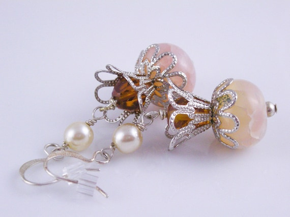 Romantic Victorian Peach Crackled Dragon's Vein Agate Crowned in Silver and Pearl Earrings