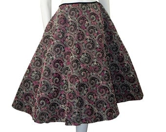 Full Circle Skirt Vintage 1950s Pink & Black Embroidered rockabilly Swing Skirt MUST SEE