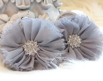 "2 pcs 2.5"" Adeila Collection GREY Shabby Frayed Vintage Chiffon Ruffle Flowers with Rhinestone,applique , hair accessories"