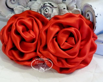 "2 pcs: 3"" RED Adorable Rolled Satin Rose Rosettes Fabric flowers Appliques"