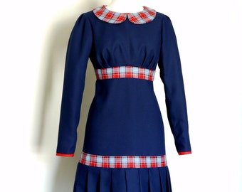 Navy Blue and Red Check Drop-Waist Dress- by Dig For Victory