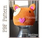 Crochet Cat Hat Pattern, Animal Beanie,  MITZY EURO KITTY - pdf 128