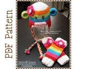 Crochet Sock Monkey Hat and Leg Warmers Pattern, Ear Flap Stripe, SUZY and SID - pdf 122, 703