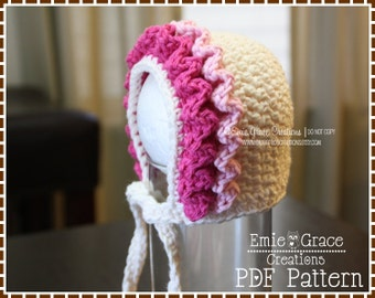 Crochet Ruffled Bonnet Hat Pattern, 8 Sizes from Newborn to Adult, LILY - pdf 221