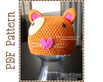 Crochet Cat Hat Pattern, Animal Beanie,  MITZY EURO KITTY - pdf 128