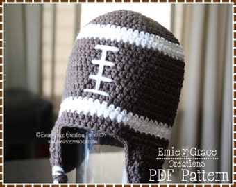 Football Hat Crochet Pattern, Ear Flap, FOOTBALL - pdf 306