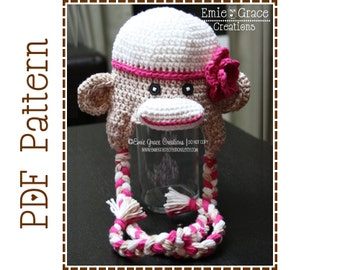 Crochet Sock Monkey Hat Pattern, Classic Ear Flap, SAM and SALLY Sock MONKEY - pdf 126