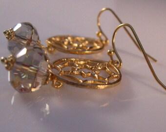 Gold Filigree Earrings, gold earrings, drop earrings, dangle earrings, cz earrings, filigree earrings, cubic zirconia, filigree, dangle