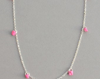 Pink Dyed Turqouise Chip Necklace