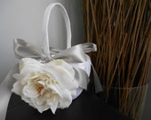 Satin Flower Girl Basket You Customize Colors and Flowers Ivory Roses and Silver Gray Shown