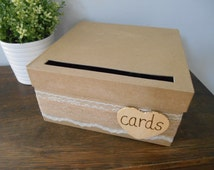 Rustic Wedding Card Box with Lace and Burlap Wedding Reception Gift Card Box Money Holder Chalkboard Wood or Paper Personalized Tag