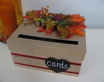 Rustic Wedding Card Box, Handmade CardBox, Recepton Card Box, Wedding Gift Card Box, Fall Wedding Leaves Burlap Wedding Chalkboard Wedding